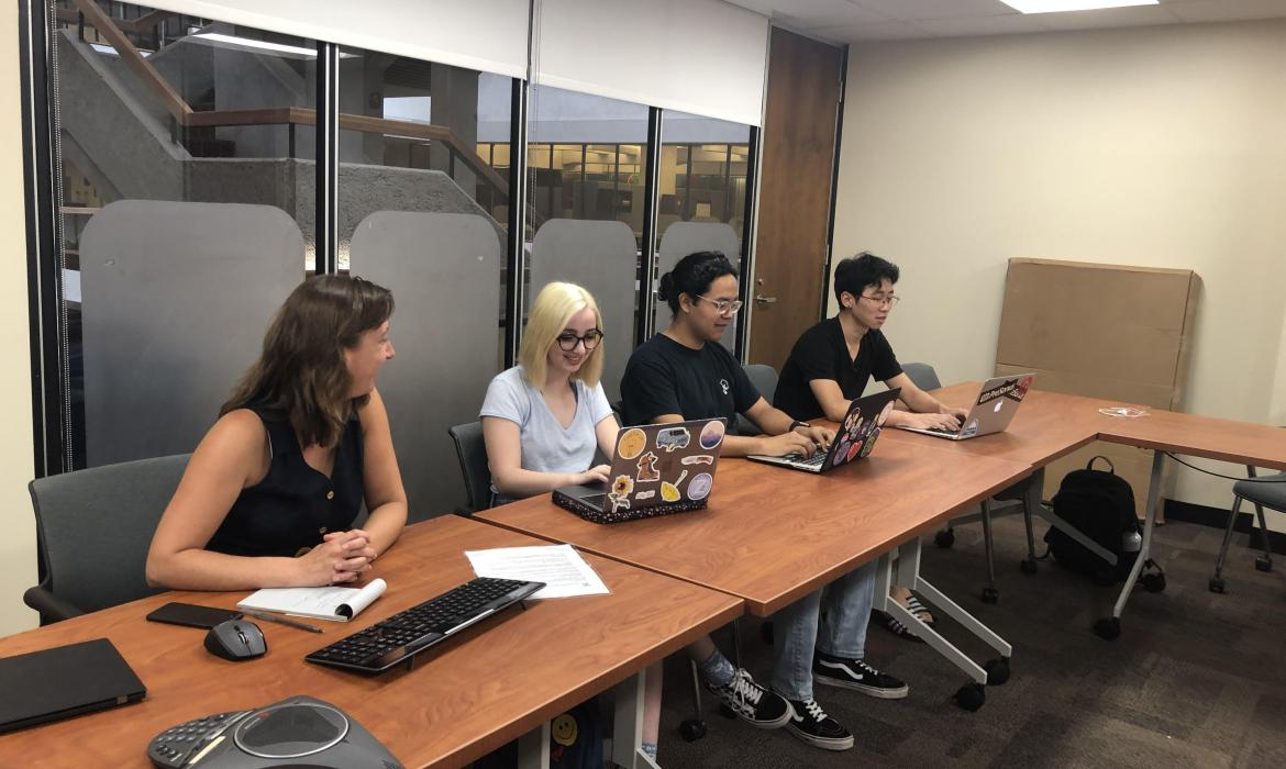 Emily and colleagues working in a conference room.