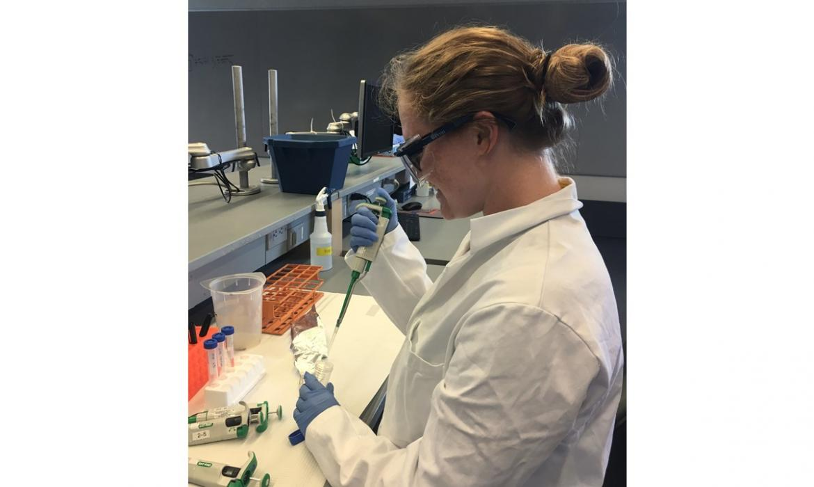 Gabrielle conducting lab tests