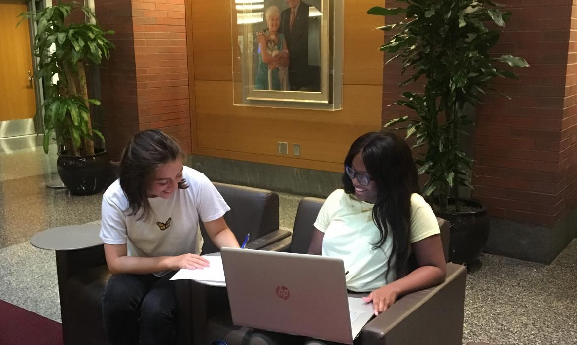 Isabella and fellow student working