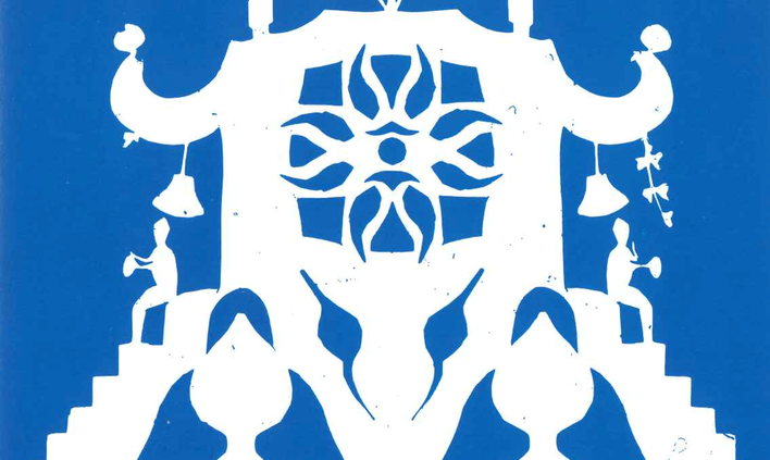 blue and white paper cut art