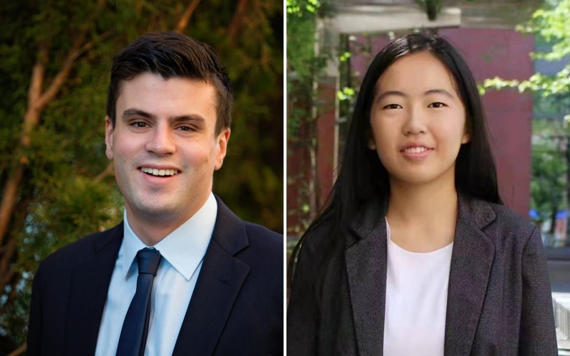 Senior Patrick Beyrer (left) and 2020 graduate Brook Jiang have been selected as 2021 Yenching Scholars, awarded full funding to pursue an interdisciplinary master's degree in China studies at the Yenching Academy of Peking University in Beijing.