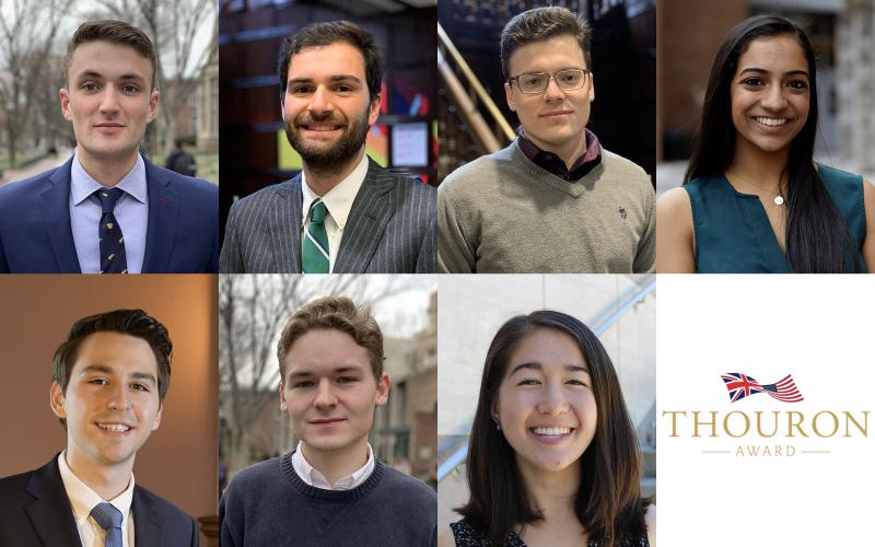 Penn announces seven Thouron Scholars for 2020. From left, top: senior Daniel Brennan, 2018 grad Braden Cordivari, 2019 grad Gregory Forkin, and senior Natasha Menon. Bottom: senior Robert Subtirelu, senior Zachary Whitlock, and 2018 grad Maia Yoshida