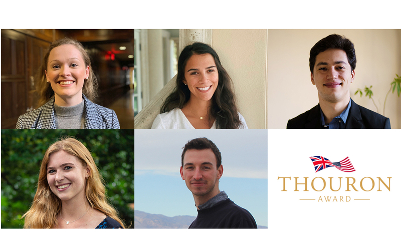 Four University of Pennsylvania seniors and a 2019 graduate have received a Thouron Award to pursue graduate studies in the United Kingdom.