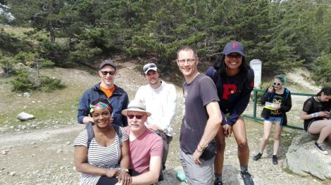 Mabel (at right) with Spanish co-workers and Dutch teachers on a hike during a student exchange week